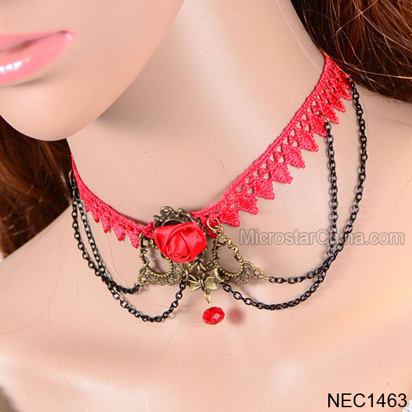 Lolita Gothic Collar Bib Red Lace Necklace Chain Wedding Bridal Choker