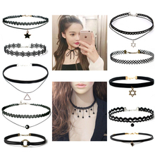 Harajuku Vintage Jewelry velvet belt Lace choker Necklace for girl,Short chain necklace collar