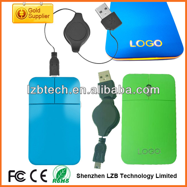 Mini flat Mouse with Retractable Cord,USB flate Mouse with LED Logo For Gift