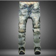 Nostalgic men jeans patch straight retro fashion wave men trousers