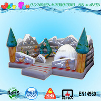 EN71 customized inflatable Christmas tree bouncer, multi alps snow bouncy castle bed for children