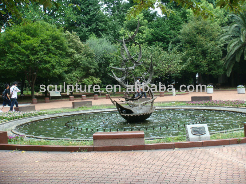 Modern Large garden Copper Fountain Sculpture
