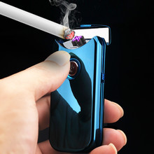 Classic Metal Double Cross Arc Lighters Creative USB Cigarette Lighter Electronic Gift Man