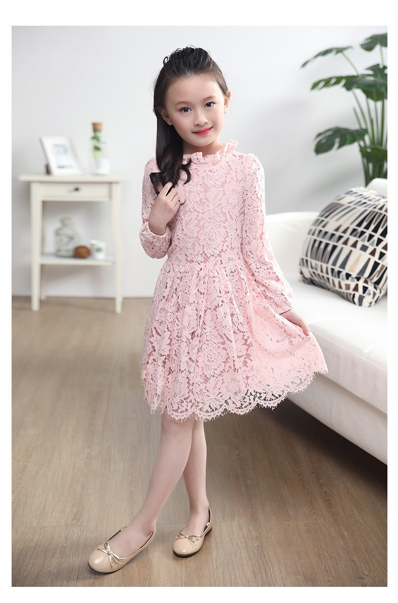 1911 2016 New Style Children Girl 100% Solid color Lace Dress