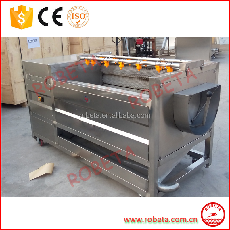 stainless steel Potato Washing And Peeling Machine Potato Peeler /fruit washer with 11 brush rollers/ Whatsapp: 86-15803993420