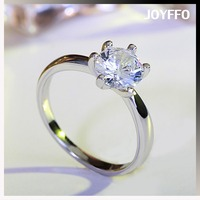 European Luxury Fashion Women 1 Carat High-grade Imitation Diamond Platinum Plated Zircon Wedding Ring