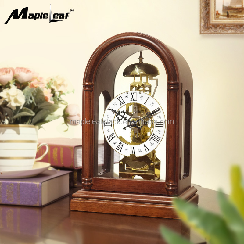 Wood Table/ Desk Clock with Skeleton Mechanical Movement