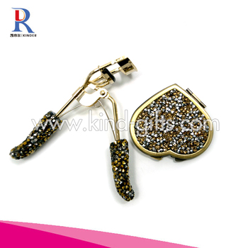 Innovative Sparkle Diamond Bead Vintage Folding Makeup Mirror Fancy With Eyelash Curler