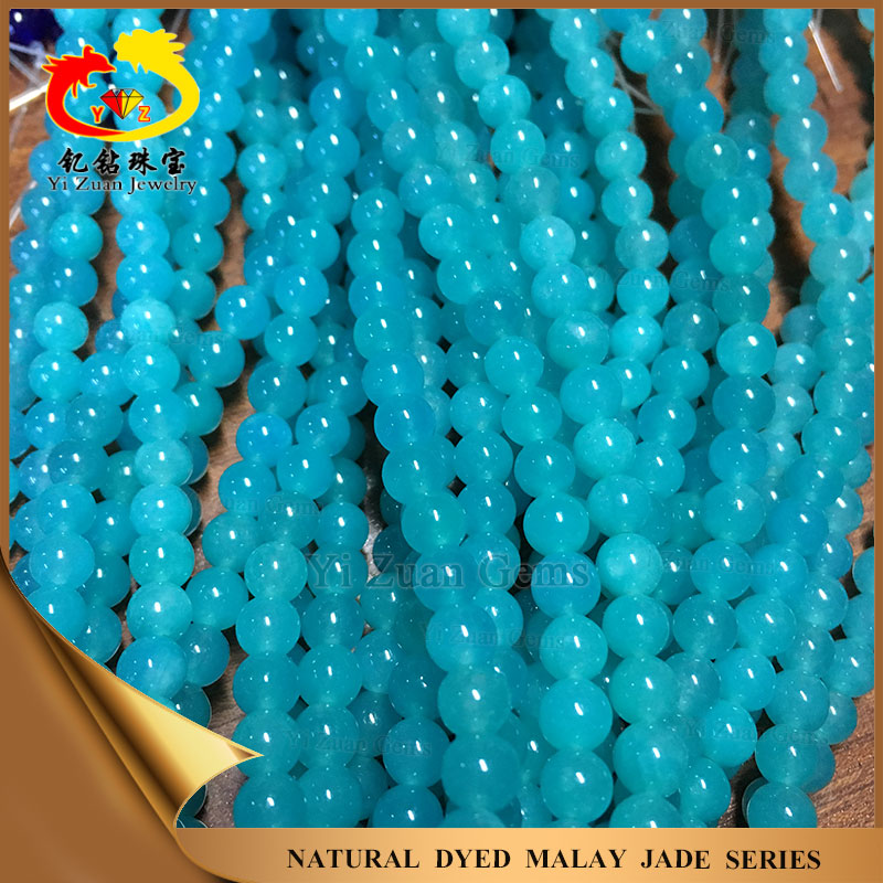 Factory direct price dyed light natural blue jade necklace jade