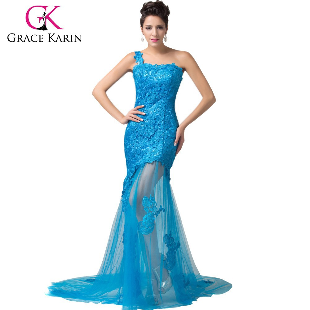 2015 New Style One Shoulder Thai Silk Elegant Long Lace Evening ...