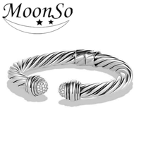 fashionable design 925 sterling silver open twist bangle bracelet with fake diamond for women MOONSO KS2124S