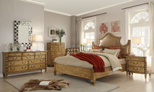 Traditional American Wooden Bedroom Set/ Leather Head Board/ King Size Bedroom Furniture