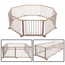 8 Panel Foldable Wooden Frame Kids Play Center Yard Baby Playpen