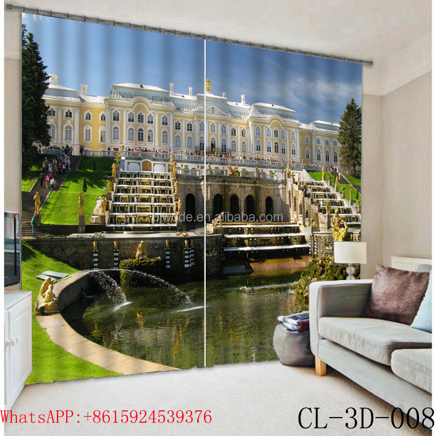 Majestic hotel building string curtain and 2 panels window curtain