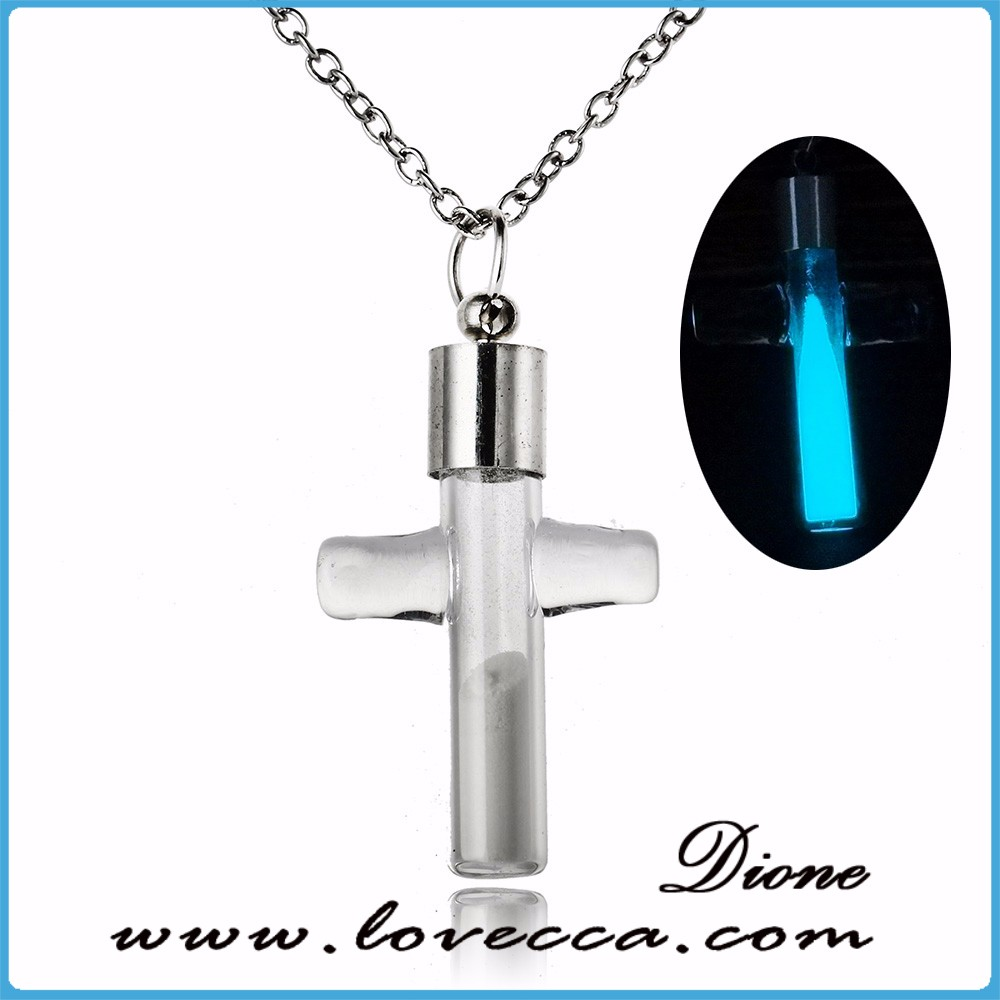Luminous glow cross necklace women pendant with chain jewelry