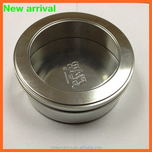 Wholesale round tin can with clear window