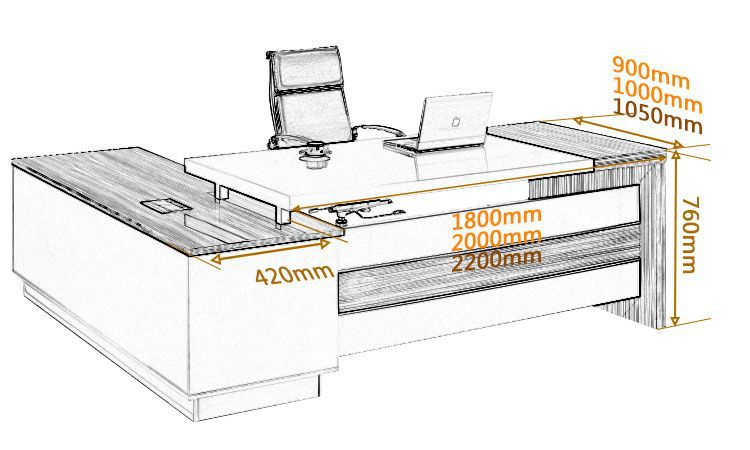 Delighful Office Desk Dimensions Furniture Executive Buy Throughout H On Design Ideas