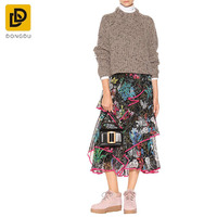 High quality women pullover loose Irregular jumper knit mexican Sweater