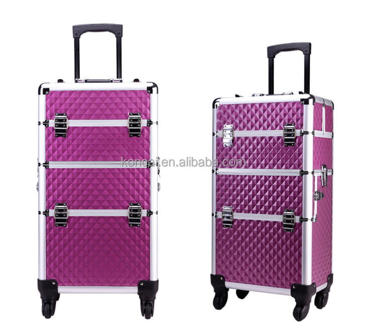 Professional travel antique cosmetic case with drawers