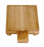 Manufacturer Square Bamboo Cutting Board with Gravy Server 100% Totally Bamboo Chopping Block Quality Products For Meat Hotsale