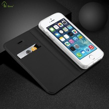 E-Tree Brand skin luxury leather flip cover for iphone 5 5s case card slot strong magnet case for iphone 5