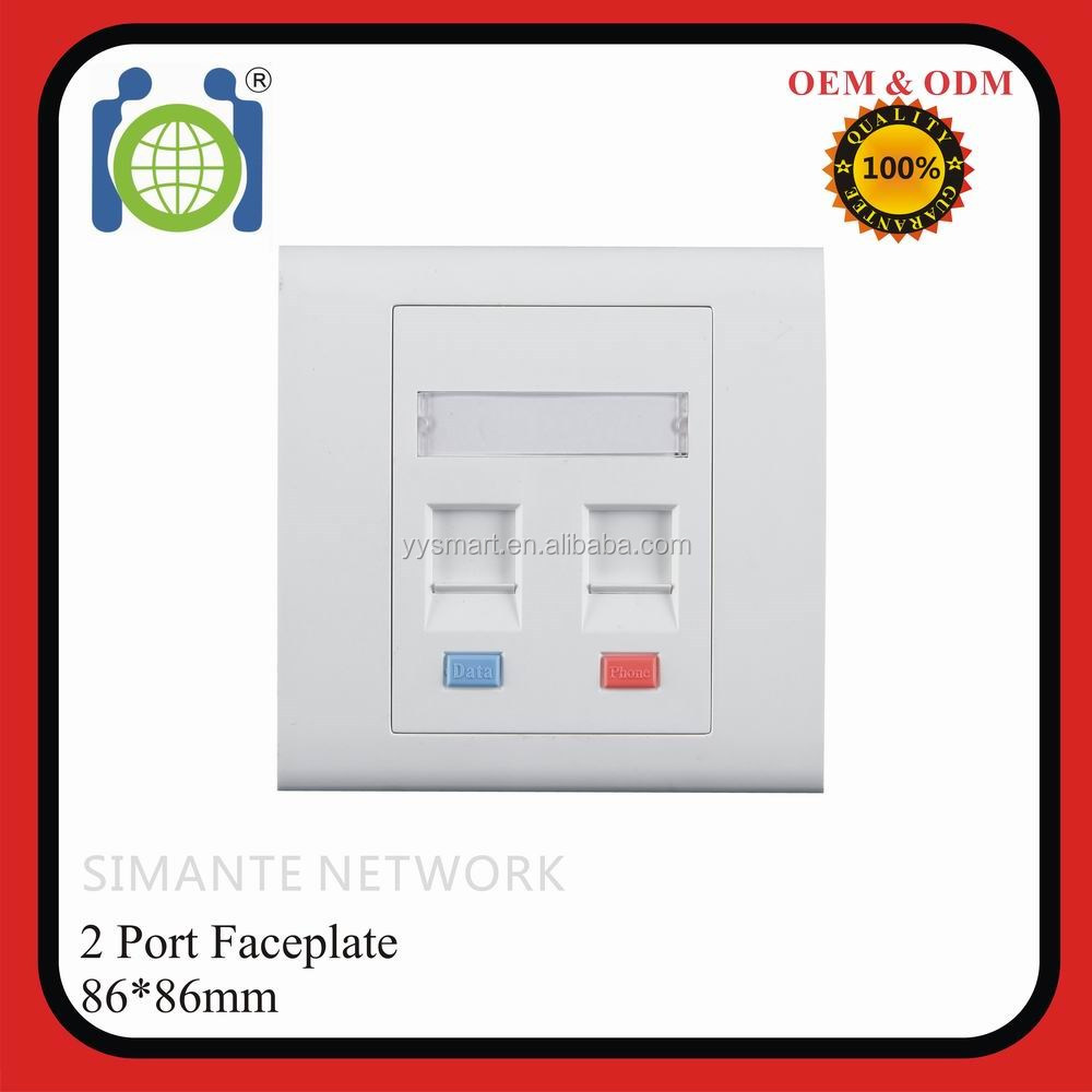 "RJ45 RJ11 wall plate network 2 ports 86*86mm Flat Shuttered FacePlate with ""data"" ""phone"" mark"