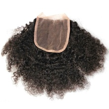 factory price wholesale natural color afro kinky 4*4 remy human hair lace closure for wigs