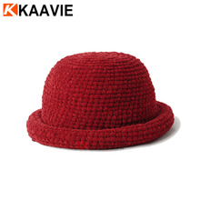 Custom ladies plain orange red black flannel crochet winter bowler pork pie formal hat
