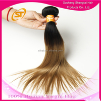 Hot Sale Two Tone Indian Hair Weaving, Natural Raw Indian Hair, 12 Inch Raw Unprocessed Virgin Indian Hair