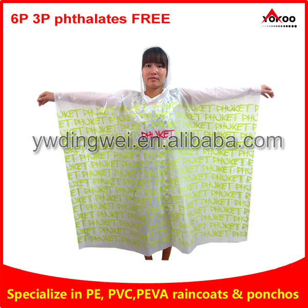 Rain poncho in plastic cover, poncho raincoat with all over printing