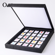 China Custom Logo Faux Leather Bare Diamonds Display Wholesale Black Leatherette Loose Gemstone Display Case with Magnet Lid