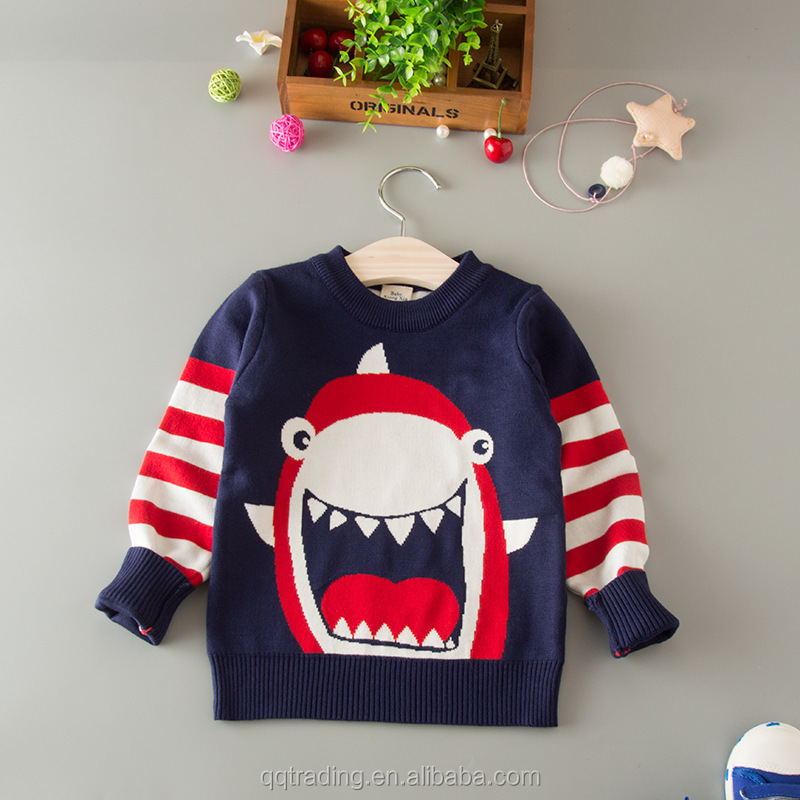 Korean cartoon design boy's sweater for kids computer long sleeves latest pullover red sweater designs for boys round neck
