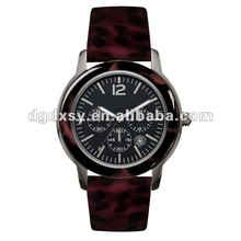 Romanson Men 18K GP Blk. Leather Band Watch