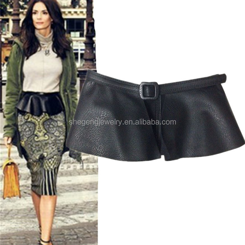 Skirt StyleLadies Black PU Leather Wrap Around Corset Cinch Waist Wide Belt