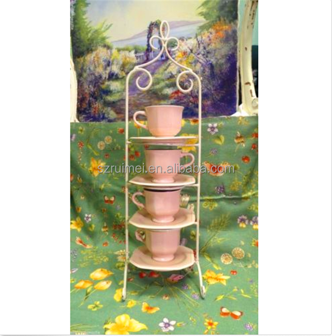 Free Standing 4 Tiers Decorative Metal Coffee Tea Stand