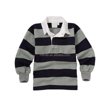 OEM Uniforms Factory Long Sleeve Navy/grey striped School Unisex Blouse Sports Rugby Shirt Polo