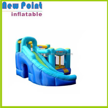 Blue inflatable combo bouncer house for fun , inflatable bounce house with slide ,5 in 1 combo