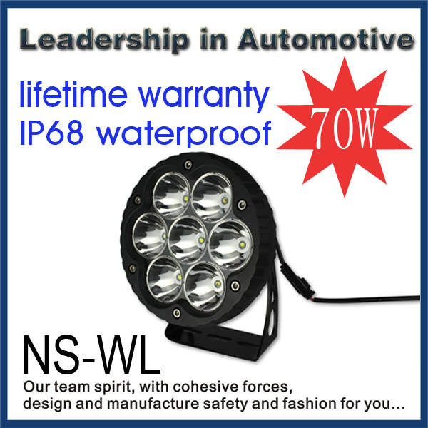 Wholesale 70w 1100lm led tuning light led work light for offroad tanks motorcycle bike Agriculture vehicle