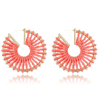 New trend personality round handmade woven earrings wholesale beads earrings S925 silver needle