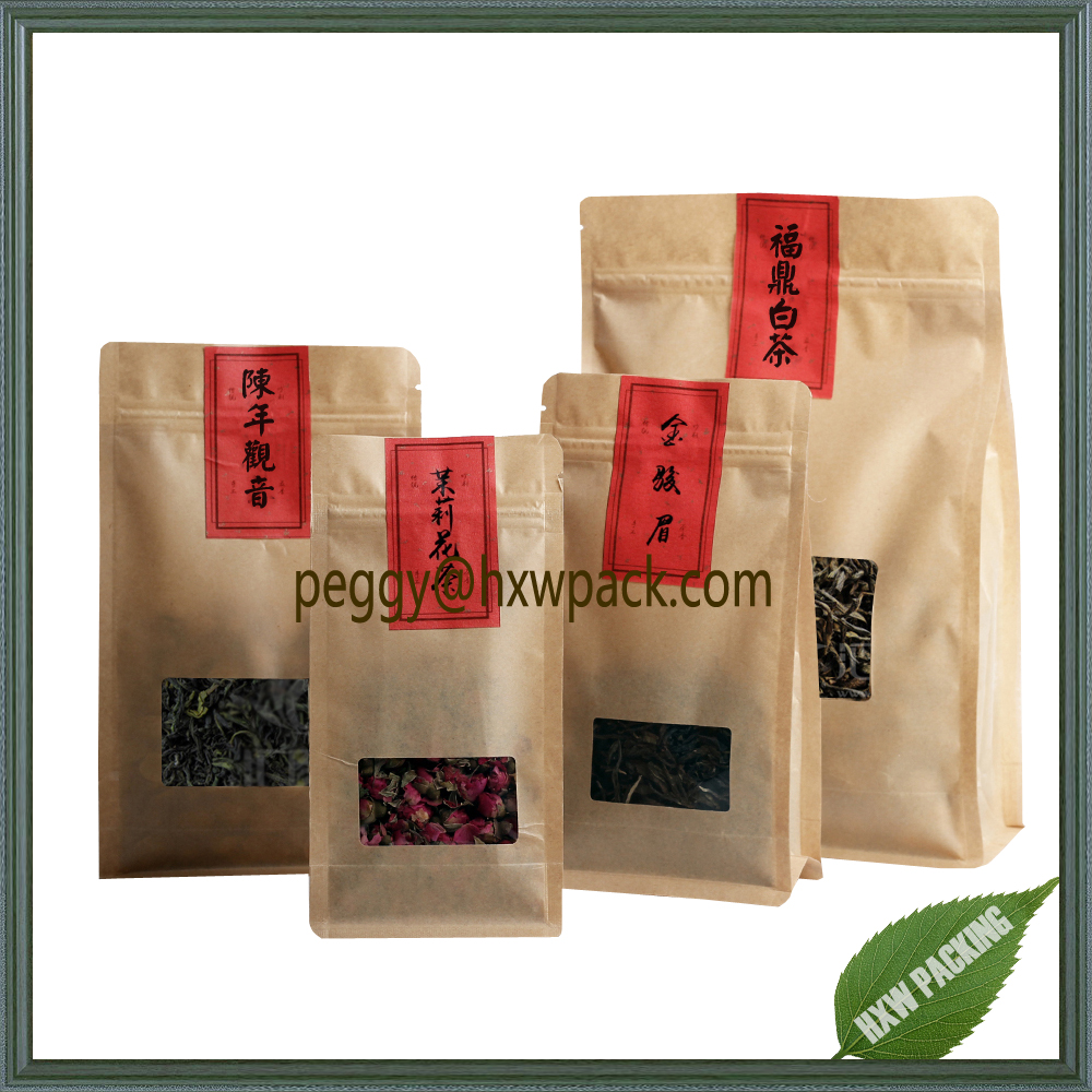 Flat bottom stand up dried herb packaging bag, square bottom paper pouch for tea packaging