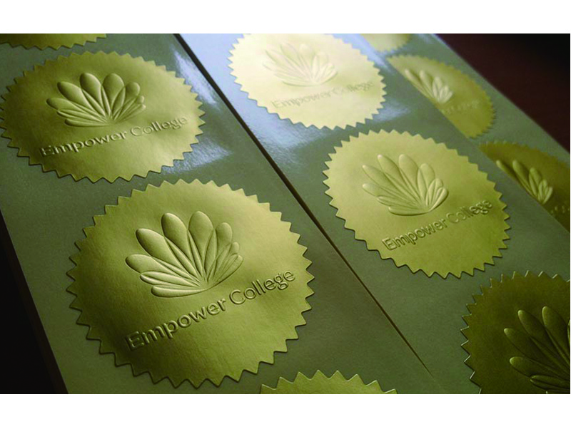 embossed logo sticker