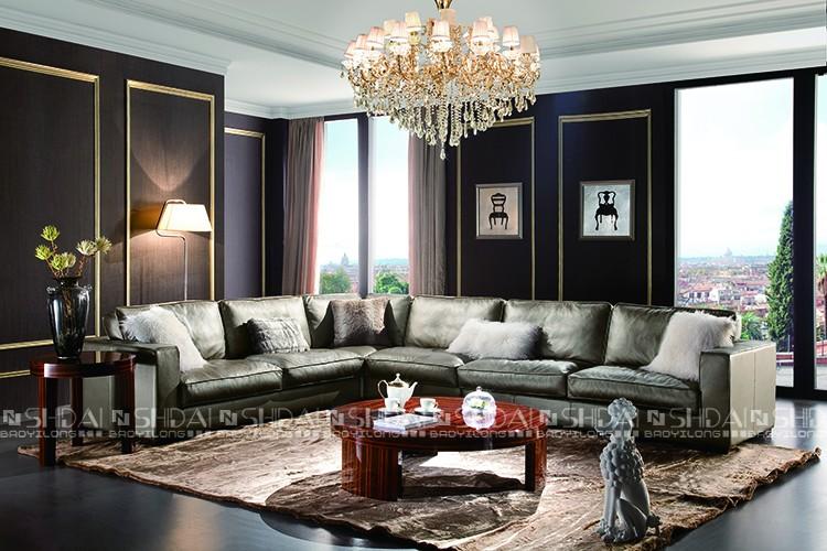 Ordinaire Modern Design European Style Living Room Corner Leather Sofa Furniture