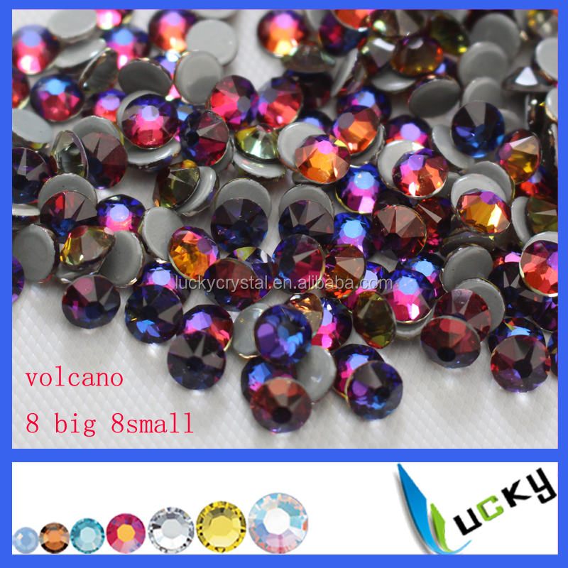 2017New arrival Volcano color Flower 8big 8small 16strar cuts ss20 iron strass hotfix rhinestones for clothing accessories