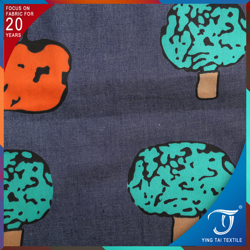 Latest fabric hot selling! 100% cotton custom printed denim fabric apple tree patern printing jeans fabric for garment