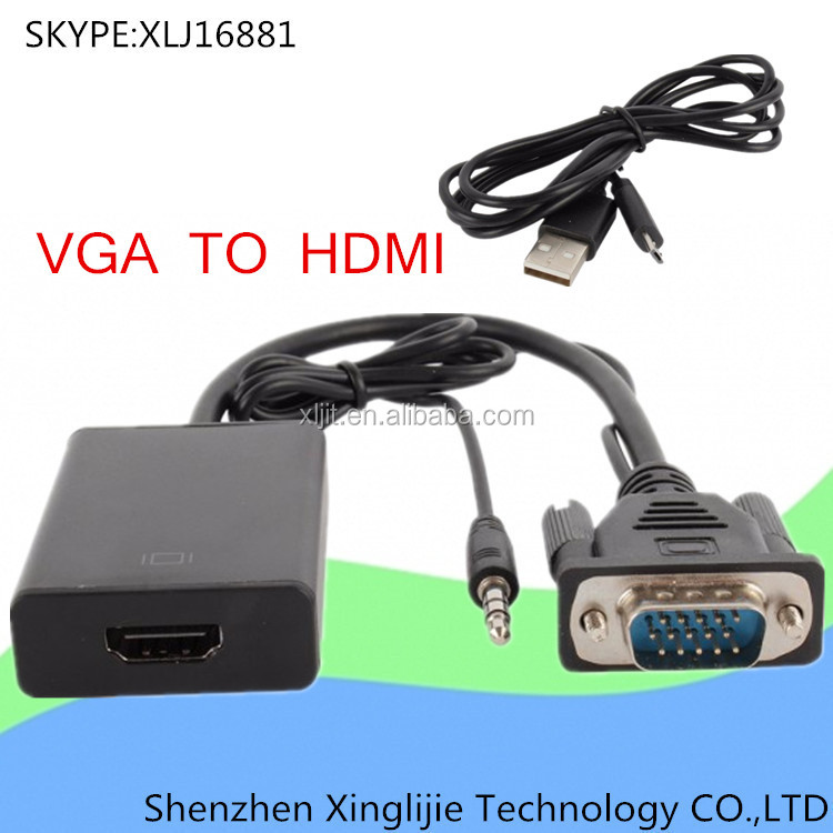 1080P Audio PC VGA to HDMI HD HDTV Video Converter Box Adapter cable