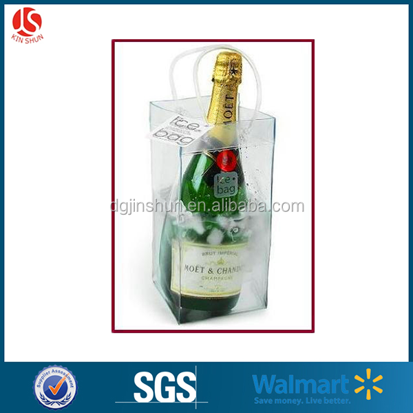 Clear promotional pvc Ice bag for wine bottle protector plastic wine bags