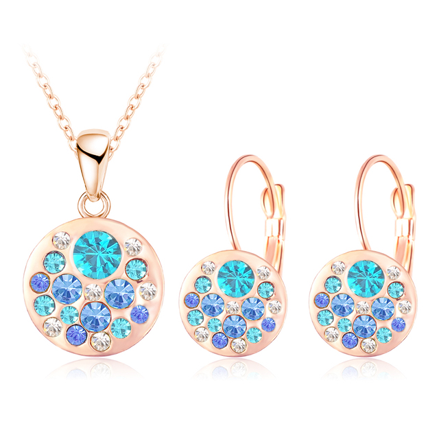 LZESHINE Hot 2016 Austrian Crystal Jewelry Set for Women Rose Gold Plated Round Style Pendant/Earrings Sets parure bijoux femme