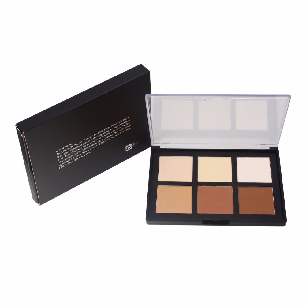 Waterproof 6 color cream concealer with transparent cover black box