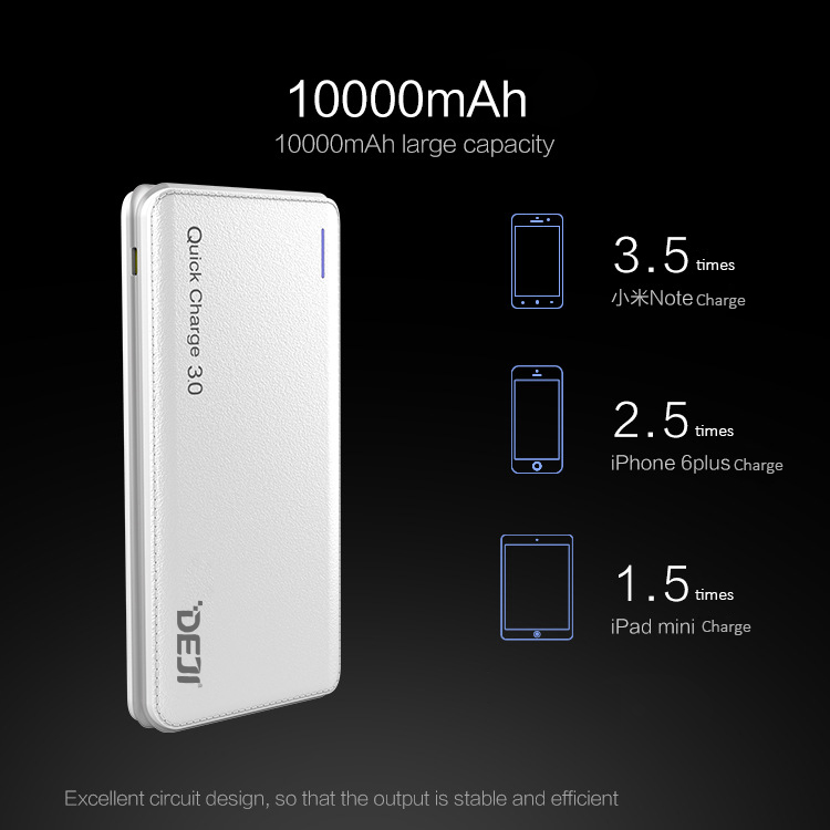 OEM small thin portable USB 10000 mah mobile phone charger 10000mah quick charge 3.0 power bank