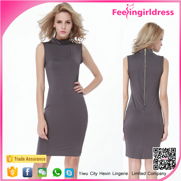 New Fashion Women Turtleneck Sleeveless One Piece Dress Pattern